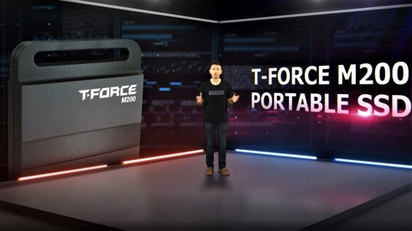 Teamgroup live stream with presenter and T-force M200 SSD backdrop