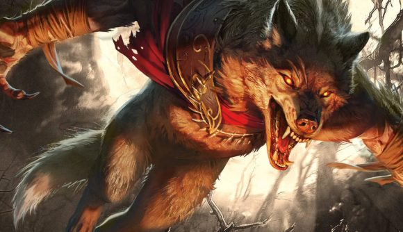 A Werewolf from the Magic: The Gathering Innistrad Midnight Hunt set, leaping with its teeth bared.