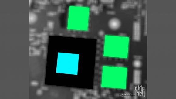 leaked image of Intel Alchemist GPU with highlighted green and blue squares