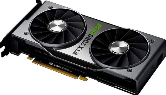 An Nvidia RTX 2060 Super graphics card on a white background