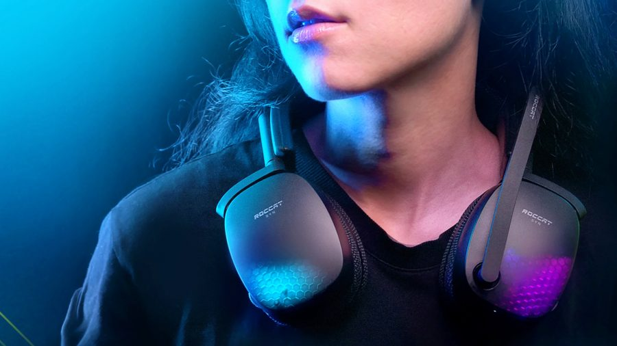 A woman wears the Roccat Syn Pro Air wireless gaming headset around her neck