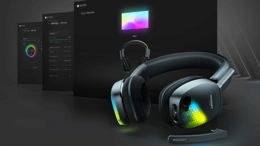 Roccat's Syn Pro Air wireless gaming headset sits in front of Neon software screenshots