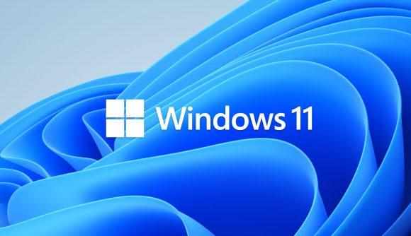 The Windows 11 logo superimposed atop Microsoft's default wave-like Windows 11 imagery