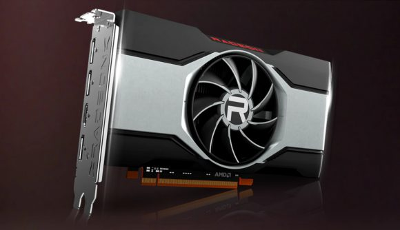 A front facing render of an AMD RX 6000 series graphics card