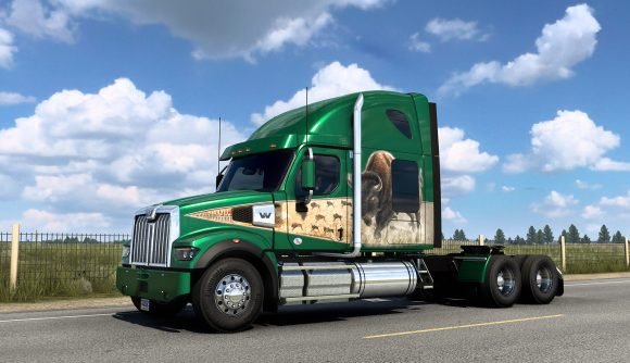 A truck parked on a roadside, painted with the new bison paint job you can earn in American Truck Simulator's Cruising Wyoming event
