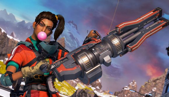 Rampart in Apex Legends, with a big ol' gun and a bit of bubble gum