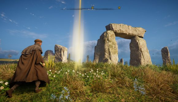 Wandering toward Stonehenge as a monk in the Assassin's Creed Valhalla Discovery Tour
