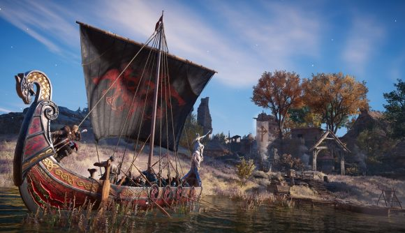 A Viking longship approaches a monastery in Assassin's Creed Valhalla.
