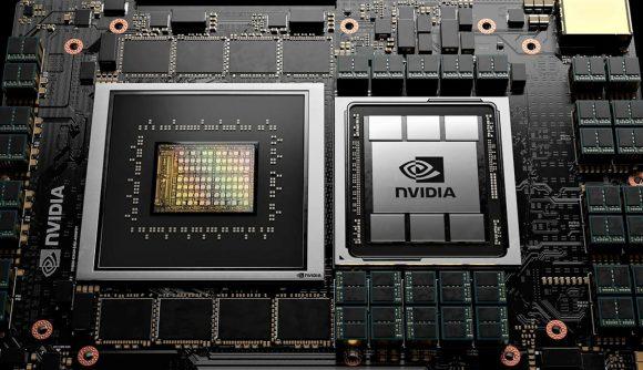 closeup render of Nvidia processor on board