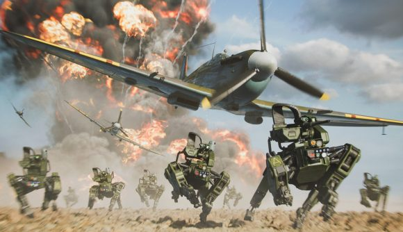 A plane flies over a number of mechs running from an explosion in Battlefield 2042