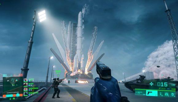 A rocket on a launchpad in Battlefield 2042