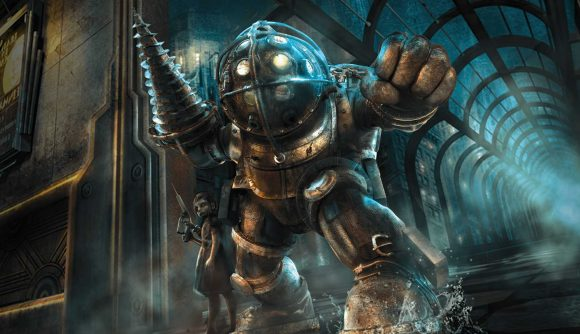 Image of a Big Daddy from Bioshock with Little Sister on right in front of backdrop of Rapture