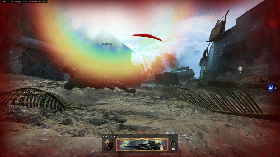 Reflexo de lente no mapa Gavutu em Call of Duty: Vanguard