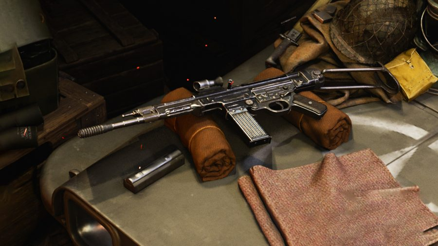 An assault rifle from Call of Duty Vanguard laying on a table