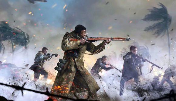 Call of Duty: Vanguard soldiers fire weapons on a war-struck beach