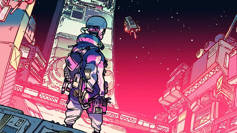 A character from cyberpunk game Citizen Sleeper staring out at lawless space station