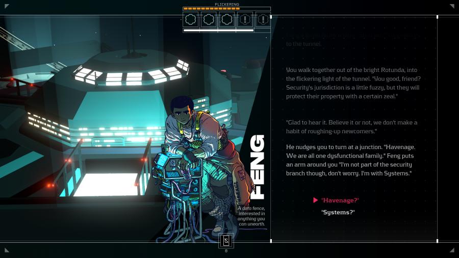 Gameplay from cyberpunk game Citizen Sleeper