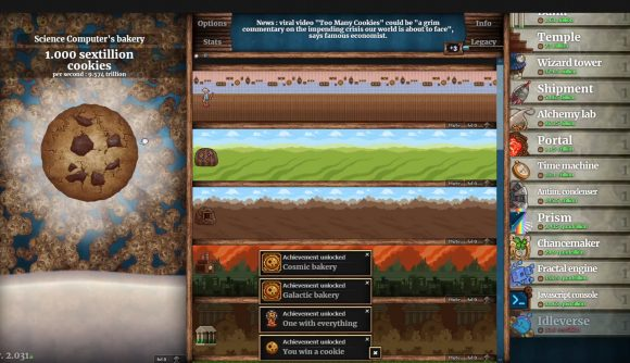 Cookie Clicker's main screen, including a lot of achievements with one of each building