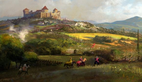 An impressionist painting of a delegation of knights riding in the fields outside a royal manor estate.