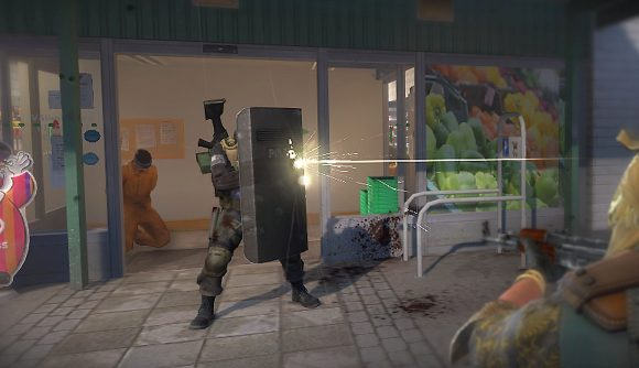 A CS:GO agent uses a Riot Shield in Operation Riptide