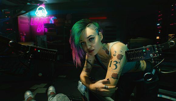 Cyberpunk 2077's Judy stares at the player