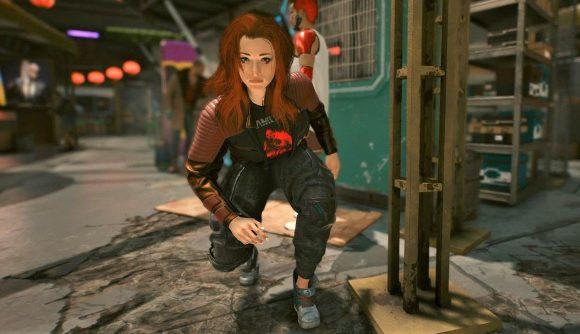 V from Cyberpunk 2077 sneaking through a Night City street