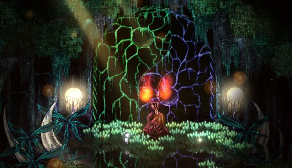 A Dap approaches an odd being in a dimly lit forest