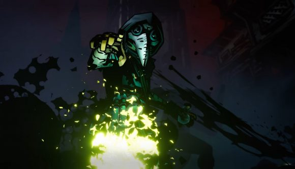 A plague doctor detonates an explosive flask that erupts in sickly green fire in the trailer for Darkest Dungeon II.
