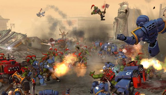 Orks and space marines clash violently in RTS game Dawn of War