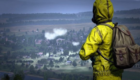 A soldier in yellow hazmat gear looks over a town shrouded in poisonous green gas in DayZ.