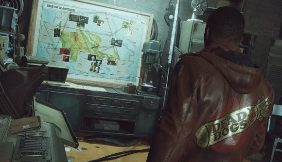 Colt, the protagonist of Deathloop, approaches a map showing the locations of his assassination targets