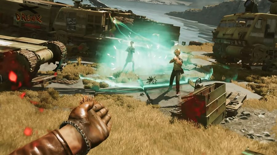 Colt using the Nexus slab to link together multiple enemies in Deathloop