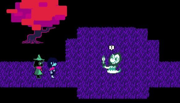 Two characters from Deltarune engage and enemy