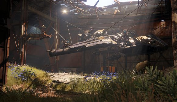 A ship literally hanging in a hangar in Destiny 2