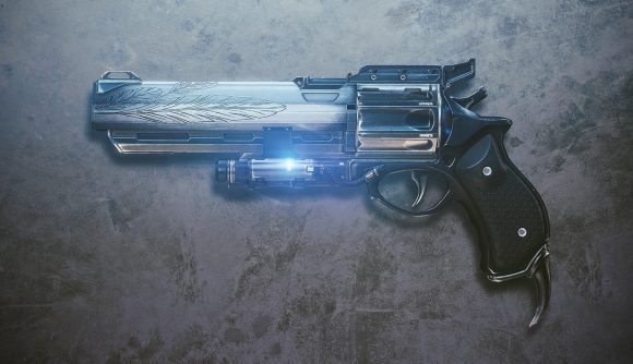 Destiny 2's exotic Hawkmoon hand cannon rests against a textured background.