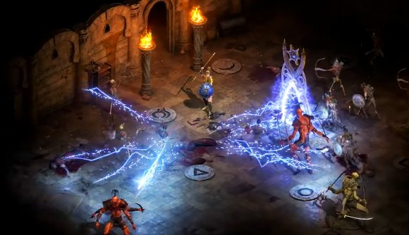 The Amazon using the Lightning Fury skill to destroy numerous enemies in Diablo 2 Resurrected