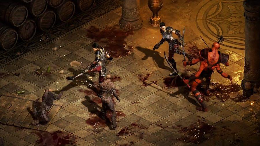 The Assassin in Diablo 2 Resurrected fighting alongside a shadow clone