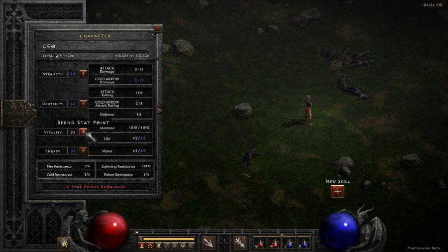 The stats screen in Diablo 2 Resurrected