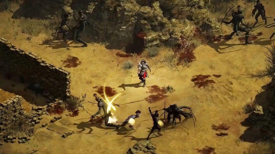 The Necromancer in Diablo 2 Resurrected summoning undead soldiers