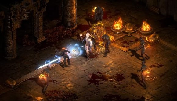 The Necromancer in Diablo 2 Resurrected summoning a fire golem to fight alongside him