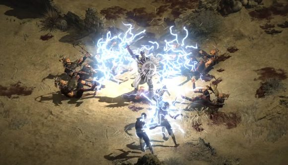 Lightning is emerging from the Paladin's sword as he attacks the surrounding enemies in Diablo 2 Resurrected