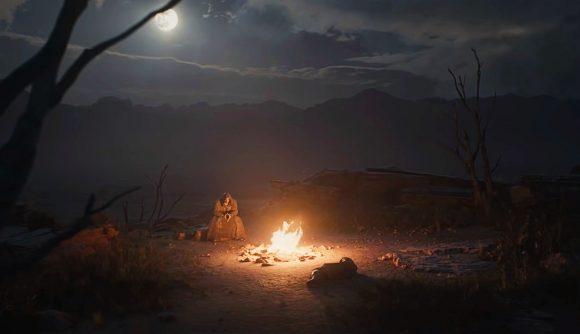 A man adventures across a desert in Diablo 2: Resurrected's cinematic trailer