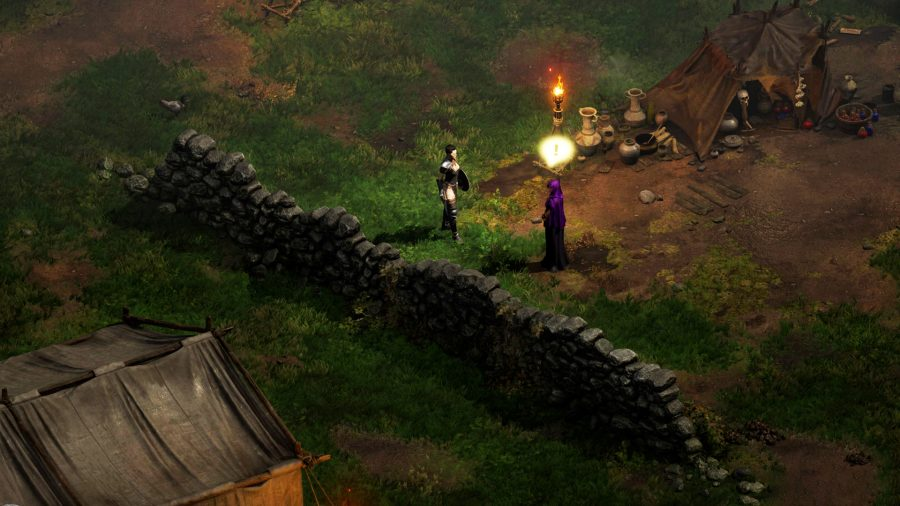 The Assassin in Diablo 2 Resurrected standing next to Akara to respec
