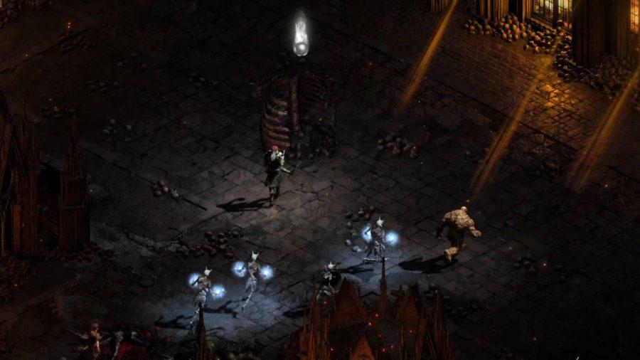 A Necromancer venturing into hell in Diablo 2 Resurrected, looking for runes..