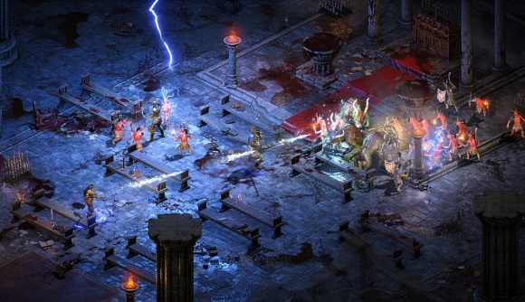 Diablo 2 players duke it out inside of a cathedral