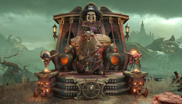 A mancubus with a beard and pirate regalia in Doom Eternal.