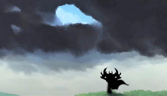 Dota 2 hero Shadow Fiend looks at a gloomy sky ahead in a fan's '90s-style anime intro clip