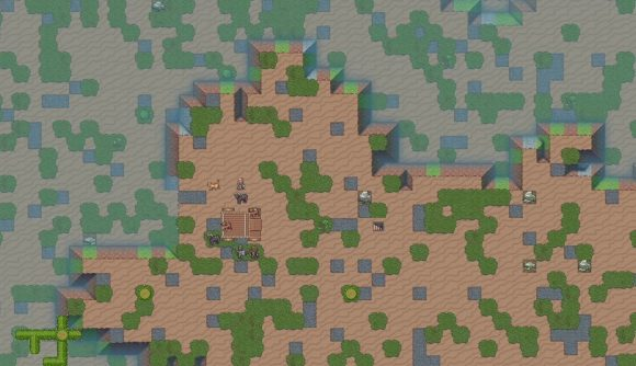 Dwarf Fortress' new graphical desert environment shows sand, cacti, and a new expedition ready to start a colony.