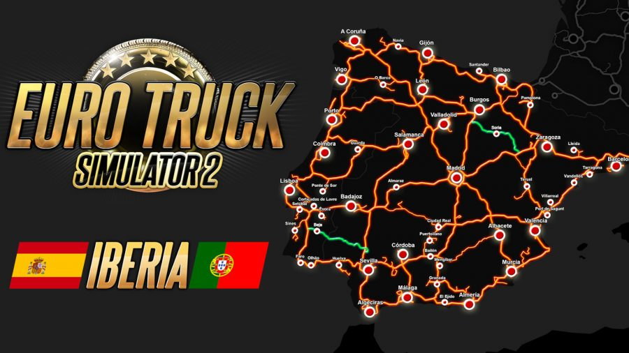 A road map of Iberia in Euro Truck Simulator 2, with two roads added in a free update highlighted in green