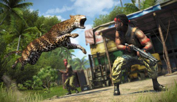 A leopard attacks a mercenary in Far Cry 3